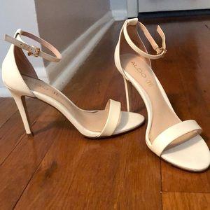 White open toe heels
